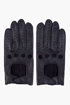 RAG & BONE Black Leather Driving Gloves