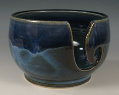 Yarn Bowl - Wheel Thrown Stoneware by Seiz Pottery - Blue Glaze. $29.00, via Etsy.