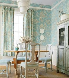 Pretty color of pale aqua is used for this pretty beach house dining room Diy Sewing Table, Diy Table, Pretty Beach House, Aqua Rooms, French Chairs, Mitered Corners, Room Paint, Valance Curtains, French Country