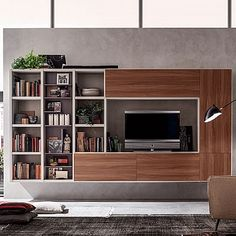 Modern Italian Design TV Media Unit Oak By Santa Lucia. Minimalist U0026  Spacious Unit Created Specially For Modern Living Room, 3 Metres Length