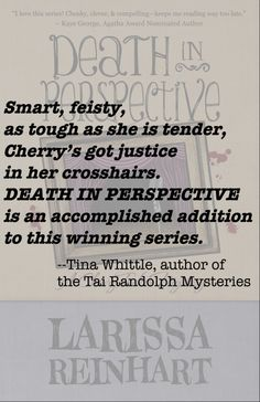 """""""Death in Perspective is an accomplished edition in this winning [Cherry Tucker Mystery] series."""" Tina Whittle, author of the Tai Randolph series :) #Junebookreleases"""