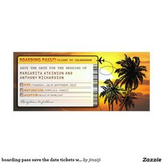 """boarding pass save the date tickets with sunset card Beautiful sunset plane tickets - boarding pass - save the date invitation with palms in sunset. I suggest the """"Metallic"""" paper for this design. If you need more additional products (like welcome letterheads, stamps, wedding stickers, buttons, special envelopes etc), please contact me. If you like my style, please browse my store to see a lot of unique designs."""