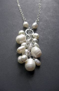 Pearl Cascade Necklace by Simple Elements Design #pearls #necklace #handmade