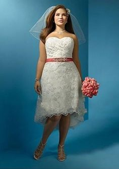 I like this <3 http://www.keepdress.com/no/images/net-with-re-embroidered-lace-strapeless-plus-size-a-line-style-with-exqusite-beaded-waist-belt-in-high-low-hemline-2011-hot-sell-bridal-dress-wa-0071.jpg