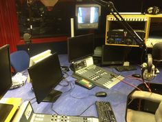 """Radio studio. Getting ready for another """"talk business"""" radio show"""