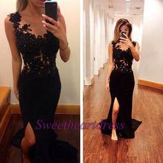 Cute black lace chiffon prom dress with slit