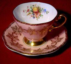 E B Foley Bone China Pink Cup Saucer Floral Fruit Pattern 3779 Gold Trimmed | eBay