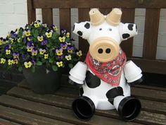 Bloempotten koe