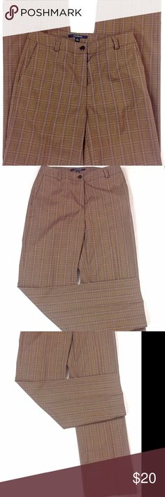 """Chadwicks Brown Plaid Pants W/Tummy Control Chadwicks women's brown plaid casual/ career pants/ slacks in great condition. Size 4.  Product Features: Button and zipper fasten Belt loops 2 front pockets Inside mesh tummy control  80% polyester, 17% rayon, 3% spandex Measurements (lying flat - across the front):  Waist - 14.5"""" Hips - 17"""" Thigh - 11.25"""" Inseam - 31"""" Rise - 10"""" Hem - 9"""" _______  * Comes from a clean, smoke-free, pet-free environment. * Color variations may occur due to the flash…"""