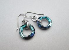 Blue Turquoise Swarovski Crystal Circle Earrings with Steel & Titanium Green Earrings, Circle Earrings, Round Earrings, Swarovski Crystal Earrings, Crystal Jewelry, Hardware Jewelry, Sterling Jewelry, Sterling Silver, Stainless Steel Jewelry
