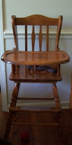 Antique Wood Baby High Chair