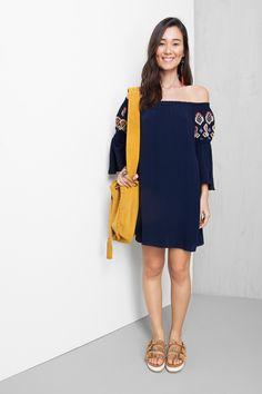 vestido ombro a ombro bordado | Dress to
