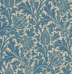 Thistle (DMOWTH102) - Morris Wallpapers - One of Morris's most popular papers; a bold, distinctive design that is at once historical and contemporary.   Available in 5 colours – shown in the indigo blue and linen. Please ask for a sample for true colour match.