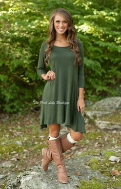 The Pink Lily Boutique - Casual For Fall Dress Olive, $35.00 (http://thepinklilyboutique.com/casual-for-fall-dress-olive/)