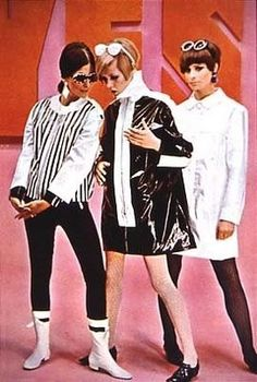Mary Quant vintage fashion style color photo print ad model magazine 60s fashion designer icon mod twiggy black white pants mini skirt plastic coat jacket sunglasses boots shoes