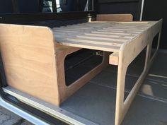 Camper van pull out bed Truck Bed Storage, Camper Storage, Landrover Camper, Camper Trailers, Camper Beds, Diy Camper, Airstream Interior, Campervan Interior, Land Rover Defender