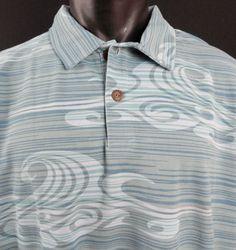 NWT Crazy Shirts Mens XXL Hawaiian Polo Shirt Aqua/Blue/Green SS Mesh Cotton New #CrazyShirts #HawaiianPolo
