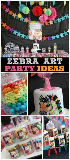 How cool is this neon zebra art birthday party! See more party ideas at CatchMyParty.com!