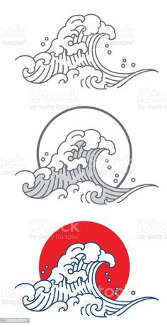 Ocean Wave Drawing, Wave Art, Waves Vector, Vector Icons, Japanese Flower Tattoo, Wave Illustration, Waves Icon, Japanese Waves, Craft Ideas