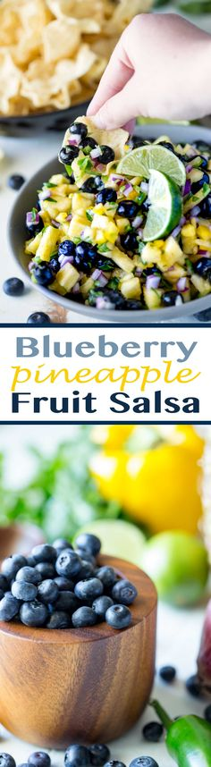 Fruit Salsa Perfect for chips or on top of fish or chicken: Blueberry Pineapple Fruit Salsa! - Eazy Peazy MealzPerfect for chips or on top of fish or chicken: Blueberry Pineapple Fruit Salsa! Blueberry Recipes, Fruit Recipes, Appetizer Recipes, Cooking Recipes, Fish Recipes, Blueberry Fruit, Party Appetizers, Sauce Recipes, Cooking Ideas