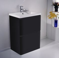ALASKA Freestanding Black Gloss Basin Vanity Unit - 600mm Freestanding Vanity Unit, Basin Vanity Unit, Bathroom Vanity Units, Bathroom Furniture, Bathroom Ideas, Bath Board, Black Vanity, Big Bathrooms, Filing Cabinet