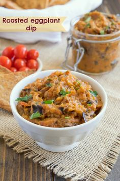 Roasted Eggplant Dip ~ Roasted eggplant, plus onions and cherry tomatoes ... all combined with delicious spices! Don't miss this one! ~ from Culinary Ginger