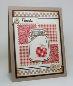 "Uses Stampin' Up!'s ""Perfectly Preserved"" set"