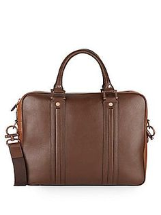 Robert Graham Roman Leather Briefcase - Brown - Size No Size