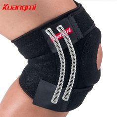 Kuangmi knee support Open Patella Knee Brace Mountaineering Walking Wrap Knee Protector EVA Pad Springs Support Adjustable 1Pair