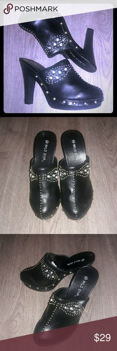 WILD DIVA black detailed mules/clogs.  SZ 6. WILD DIVA black detailed mules/clogs.  SZ 6. 4.5 inch heel. NWOT. BUNDLE-n-SAVE!!! Wild Diva Shoes Mules & Clogs