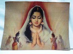 "Old Indian Goddess Sita Ram Laxman ""BHUMI KANYA SITA"" Vintage Lithograph Print"