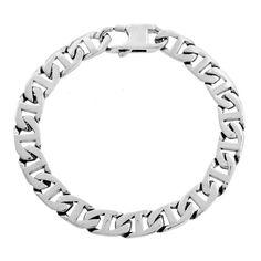 """Men's Stainless Steel Marine Link Bracelet, 9"""""""