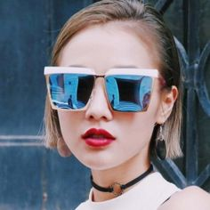 Modern Square Sunglasses Angular frames mirrored lenses