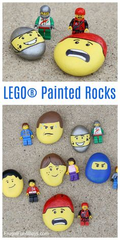 Fun rock painting idea for kids! Paint rocks to match LEGO minifigure faces.  Love it!