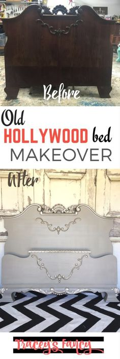 Elegant Old Hollywood Bed - Tracey's Fancy - Furniture Makeover using Heirloom Traditions gray Repose