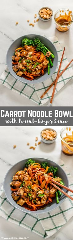 vegan and oil-free carrot noodle bowl with peanut-ginger sauce #vegan#peanuts#lowcarb