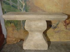 A Pair of Hand Carved Limestone Consoles Tables From France from lelouvrefrenchantiques on Ruby Lane