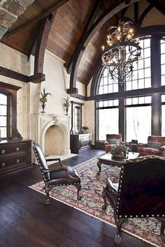 Traditional Living Room Design, Pictures, Remodel, Decor and Ideas - page 51 Home Interior Design, Interior Architecture, Gothic Interior, Room Interior, Classic Interior, Amazing Architecture, Style Villa, French Country Living Room, Great Rooms