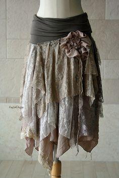 One of a kind bohemian hobo-chic tattered skirt / lace от KayLim