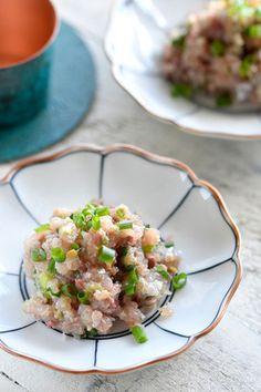 減塩♥あじのなめろう♥アジでもう一品【*魚のおつまみ *少材料 *ねりごま 】5分 レシピブログ Bar Menu, My Recipes, Potato Salad, Ethnic Recipes, Food, Meal, Essen, Hoods, Meals