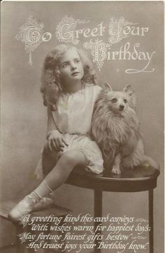 Postcard girl and a spitz