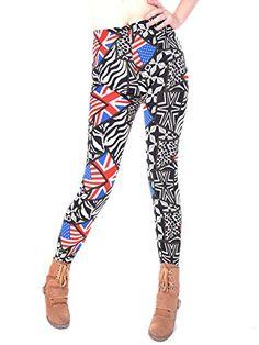 b1428a6da8a2e Amazon Price Tracking and History for: Anna-Kaci Small Fit Black American British  Flag Inspire Patriotic Pattern Leggings - (B00AG95J92). Union JackBold ...
