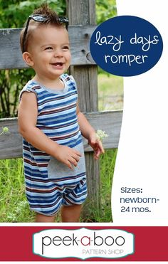 fairytale frocks and lollipops :: peek-a-boo pattern shop, amy hindman, lazy days romper, baby, infant, toddler, child, girl, boy, unisex, children's sewing pattern, gender netural, knit, shorts, onesie, one-piece, one piece, snap crotch, snap shoulder, kangaroo pocket, pocket, summer, spring, layering, sewing, instant, play, digital, download, pdf, e-pattern, e-book, epattern, ebook, tutorial, digipattern