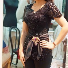 New Wedding Dresses Black Belt Style Ideas Vera Kebaya, Kebaya Lace, Kebaya Brokat, Dress Brokat, Batik Kebaya, Kebaya Dress, Batik Dress, Kebaya Bali Modern, Kebaya Wedding