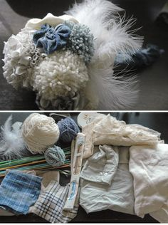 #DIY non-floral bouquet pom pom yarn vintage jewelry shirts fabric rehearsal bouquet #upcycle #recycle