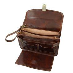 Max - Schwarze Leder Handgelenktasche für Herren - TL8075 - Tuscany Leather