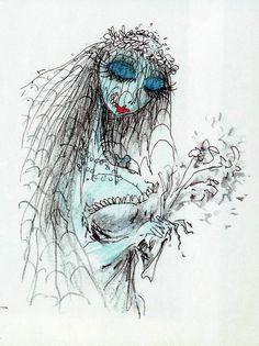 Dessin de emily des noces funèbres de Tim Burton