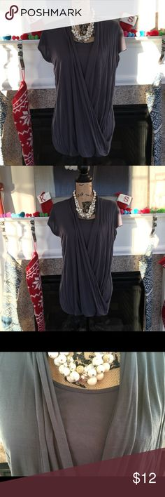 CAbi gray faux wrap top Size Large CAbi gray faux wrap long top.  Great condition, no flaws. CAbi Tops