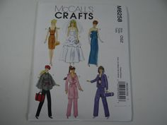 New Uncut FF McCall's 6258 Pattern - Fashion Doll Clothes Pattern - Wedding Dress - Dress - Evening Gown Coat Beret Pajamas Work Out Clothes by SecondWindShop on Etsy