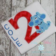 Adorable Birthday shirt featuring a sweet little Blue Dog!  www.emmylouchildrens.etsy.com